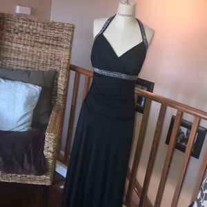 Long Black Halter Formal Dress M